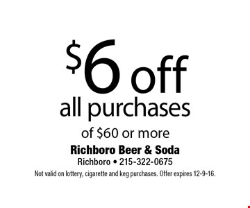$6 off all purchases of $60 or more. Not valid on lottery, cigarette and keg purchases. Offer expires 12-9-16.