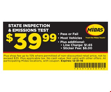State inspection and emissions test $39.99