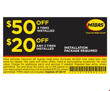 $50 off 4 tires installed
