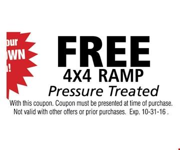Free 4X4 Ramp Pressure treated
