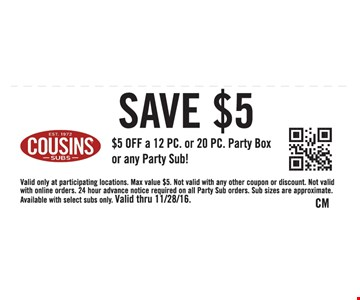 $5 off a 20 pc party box