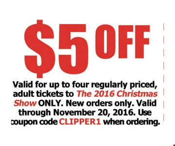 $5 Off, Valid for up to four regularly priced adult tickets