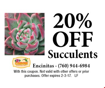20% off Succulents. With this coupon. Not valid with other offers or prior purchases. Offer expires 2-3-17. LF