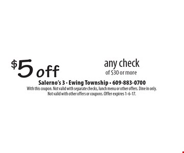 $5 off any check of $30 or more. With this coupon. Not valid with separate checks, lunch menu or other offers. Dine in only. Not valid with other offers or coupons. Offer expires 1-6-17.