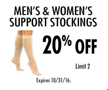 20% off Men's & Women's Support Stockings. Limit 2. Expires 10/31/16.