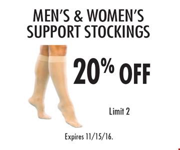 20% off Men's & Women's Support Stockings. Limit 2. Expires 11/15/16.