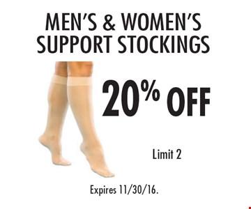20% off men's & women's support stockings. Limit 2. Expires 11/30/16.