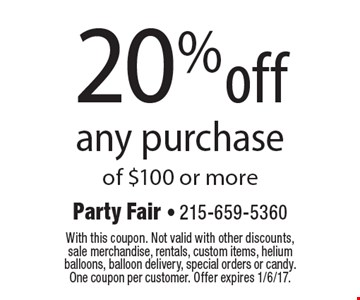 20% Off Any Purchase Of $100 Or More. With this coupon. Not valid with other discounts, sale merchandise, rentals, custom items, helium balloons, balloon delivery, special orders or candy. One coupon per customer. Offer expires 1/6/17.