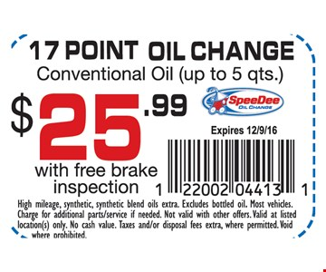 $25.99 17-point oil change