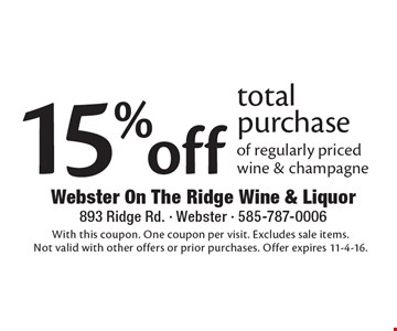 15% off total purchase of regularly priced wine & champagne. With this coupon. One coupon per visit. Excludes sale items. Not valid with other offers or prior purchases. Offer expires 11-4-16.