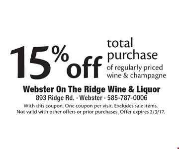 15% off total purchase of regularly priced wine & champagne. With this coupon. One coupon per visit. Excludes sale items. Not valid with other offers or prior purchases. Offer expires 2/3/17.