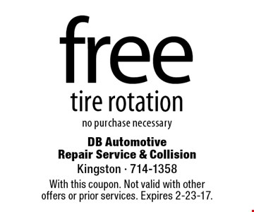 free tire rotation no purchase necessary. With this coupon. Not valid with other offers or prior services. Expires 2-23-17.