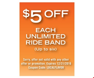 $5 off each unlimited ride band