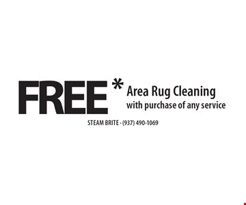 FREE* Area Rug Cleaning with purchase of any service. *Steam Carpet Cleaning. Most Furniture Moved. Extended Areas, Combo Rooms & Over 250 sq ft Count As Two. Steps Are Extra. Hallways, Walk-in Closets Or Bathrooms Count As One. Valid With Coupon Only. Some restrictions apply, such as preexisting conditions, environmental/fuel charge of $6.00 applies. Expires 11/18/16.