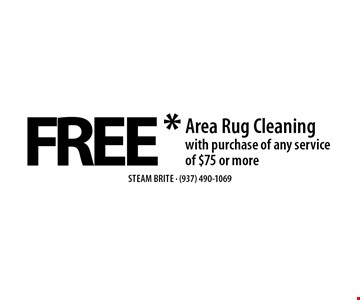 FREE* Area Rug Cleaning with purchase of any service of $75 or more. *Steam Carpet Cleaning. Most Furniture Moved. Extended Areas, Combo Rooms & Over 250 sq ft Count As Two. Steps Are Extra. Hallways, Walk-in Closets Or Bathrooms Count As One. Valid With Coupon Only. Some restrictions apply, such as preexisting conditions, environmental/fuel charge of $6.00 applies. Expires 3/17/17.