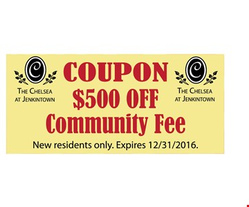 $500 Off Community Fee. New residents only. Expires 12-31-16.