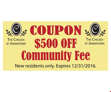 $500 Off Community Fee