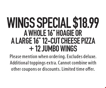 Wings Special! $18.99 A Whole 16