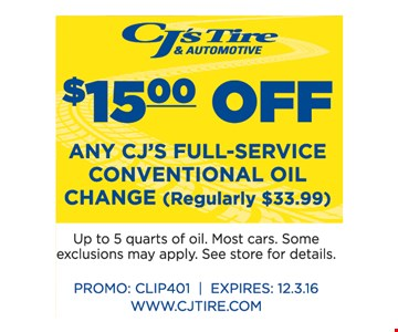 $15.00 Off any CJ's Full-Service Conventional Oil Change
