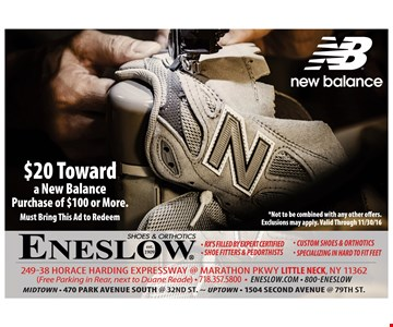 $20 toward a New Balance purchase of $100 or more