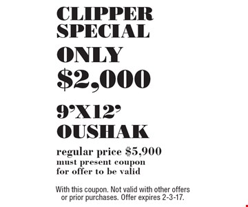 9'x12' Oushak ONLY $2,000. Regular price $5,900. Must present coupon for offer to be valid. With this coupon. Not valid with other offers or prior purchases. Offer expires 2-3-17.
