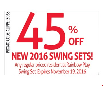 45% off new 2016 swing sets