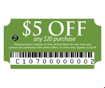 $5 off any $20 purchase