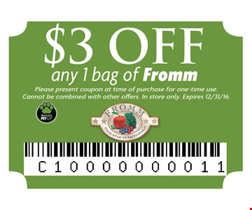 $3 off any 1 bag of Fromm