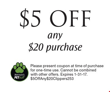 $5 OFF any $20 purchase. Please present coupon at time of purchase for one-time use. Cannot be combined with other offers. Expires 1-31-17. $5OffAny$20Clippers253