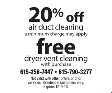 20% off air duct cleaning (a minimum charge may apply) OR free dryer vent cleaning (with purchase). Not valid with other offers or prior services. Residential customers only. Expires 12-9-16.