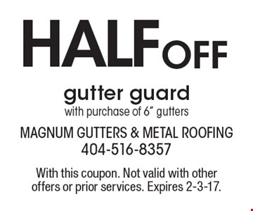 HALF OFF gutter guard with purchase of 6