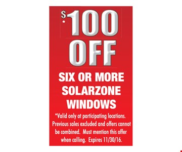 $100 off six or more Solarzone windows