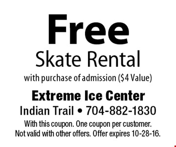 Free Skate Rental with purchase of admission ($4 Value). With this coupon. One coupon per customer. Not valid with other offers. Offer expires 10-28-16.