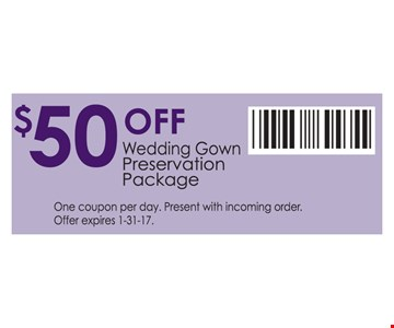$50 off wedding gown preservation package