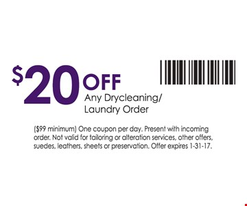 $20 off any drycleaning/laundry order