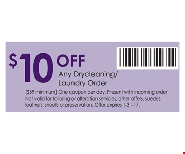 $10 off any drycleaning/laundry order