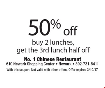 50% off buy 2 lunches, get the 3rd lunch half off. With this coupon. Not valid with other offers. Offer expires 3/10/17.