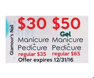 $30 Manicure + Pedicure, $50 Gel Manicure + Pedicure