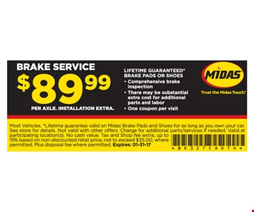 $89.99 brake service