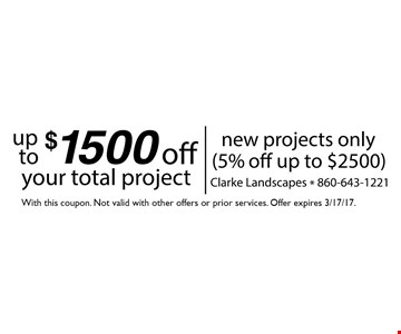 Up to $1500 off your total projectNew project only (5% off up to $2500)with this coupon. Not Valid with other offers or prior services.