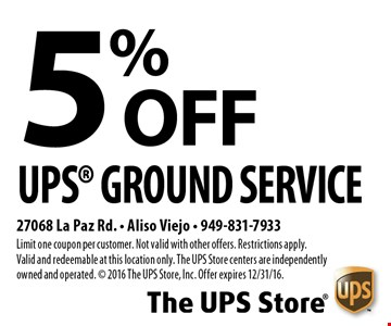 5% OFF UPS® Ground Service. Limit one coupon per customer. Not valid with other offers. Restrictions apply. Valid and redeemable at this location only. The UPS Store centers are independently owned and operated. © 2016 The UPS Store, Inc. Offer expires 12/31/16.