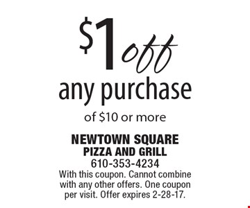 $1 off any purchase of $10 or more. With this coupon. Cannot combine with any other offers. One coupon per visit. Offer expires 2-28-17.