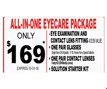 All-in-one Eyecare Package $169*