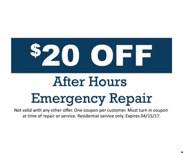 $20 Off After Hours Emergency Repair