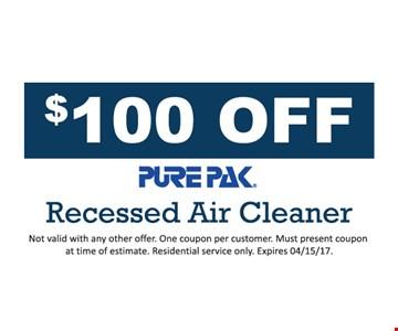 $100 off PurePak air cleaner
