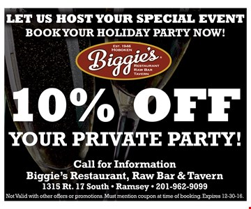 10% Off Your Private Party.