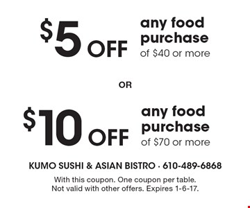 $5 Off any food purchase of $40 or more OR $10 Off any food purchase of $70 or more. With this coupon. One coupon per table. Not valid with other offers. Expires 1-6-17.