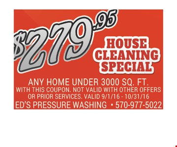 $279.95 house cleaning special