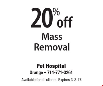 20% off Mass Removal. Available for all clients. Expires 3-3-17.