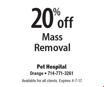 20% off Mass Removal. Available for all clients. Expires 4-7-17.